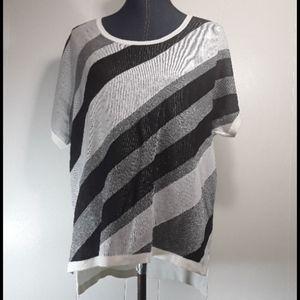 Worthington short sleeve striped blouse